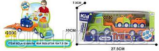 Конструктор KM-915A (96шт) на шурупах, трейлер24см,машинка2шт, 5см,інструм, в кор-ке, 28-10,5-7,5 см