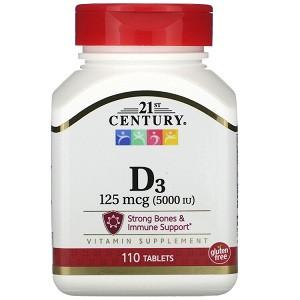 Витамины 21st Century Vitamin D3 125 mcg 5000 IU (110 таблеток.)
