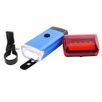 Велосипедный фонарь LED (комплект - передний и задний) BL-408 COB Blue, фото 1