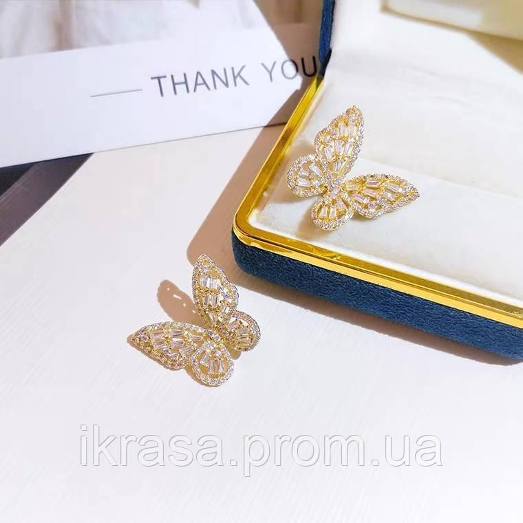 Lux Метелики з кубічними цирконами (медзолото, срібні під замовлення)