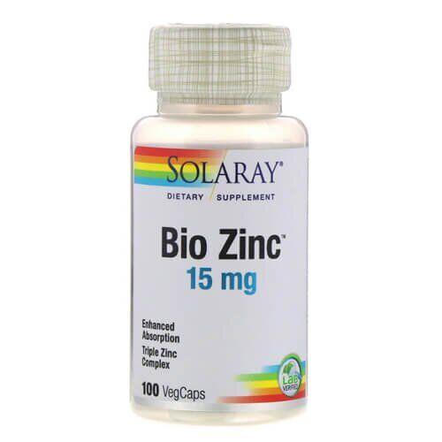 Цинк, Solaray Bio Zinc 100 капсул