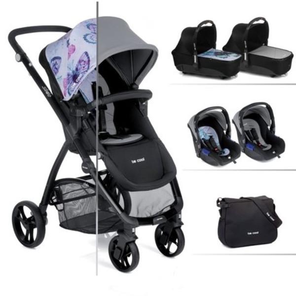 Универсальная коляска Be Cool Slide-3, серый с узором бабочки (841/643)
