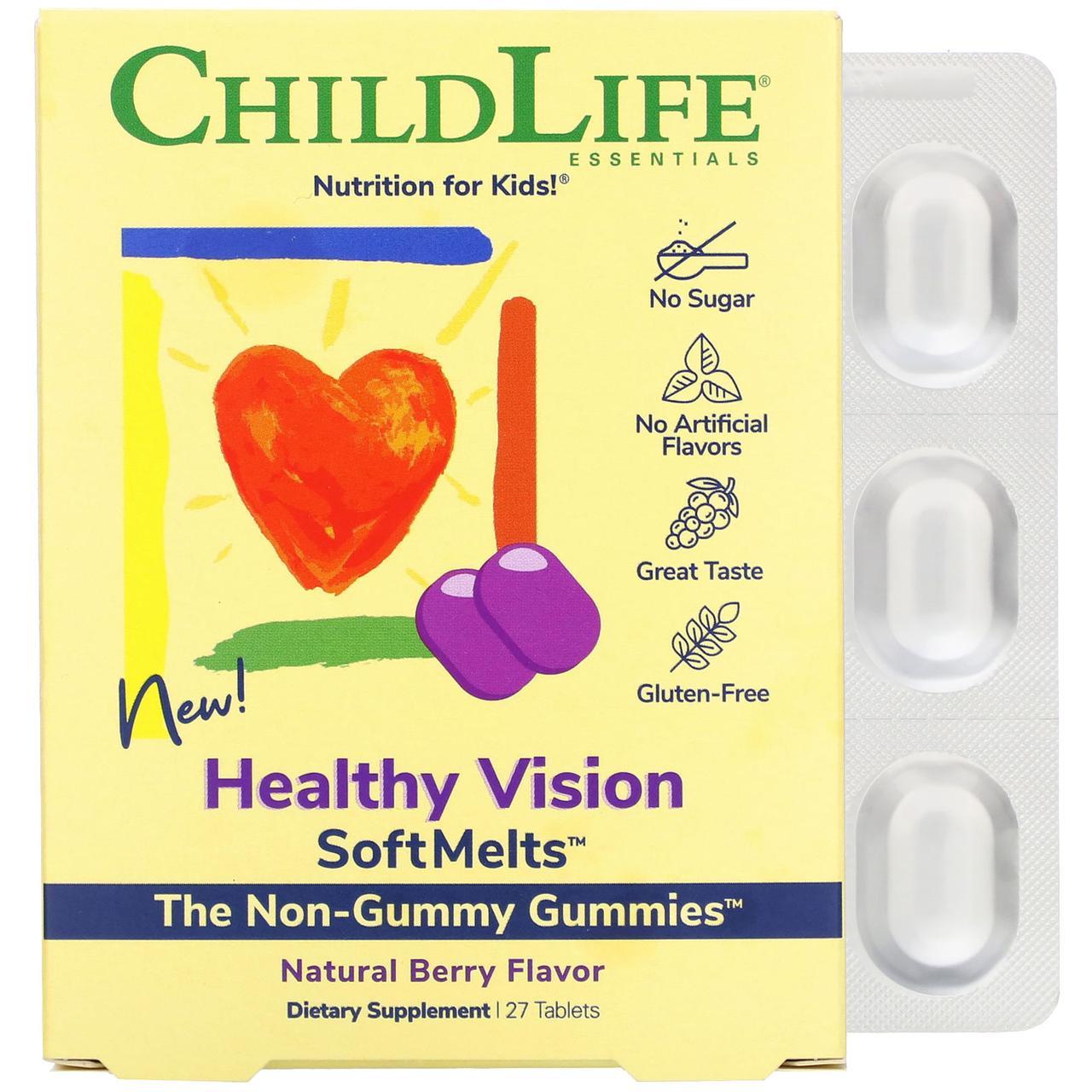 Комплекс для здоровья зрения для детей, натуральный ягодный вкус, 27 таблеток, ChildLife Healthy Vision