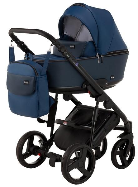 Универсальная коляска 2 в 1 Bair Mirello M-27, кожа, темно-синий (623741)