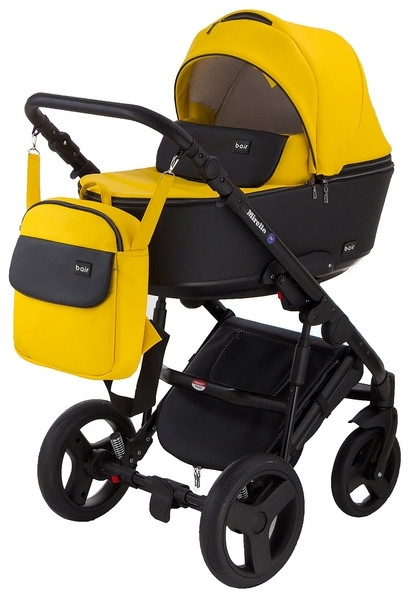 Универсальная коляска 2 в 1 Bair Mirello М-40/30, кожа, желтый с черным (623867)