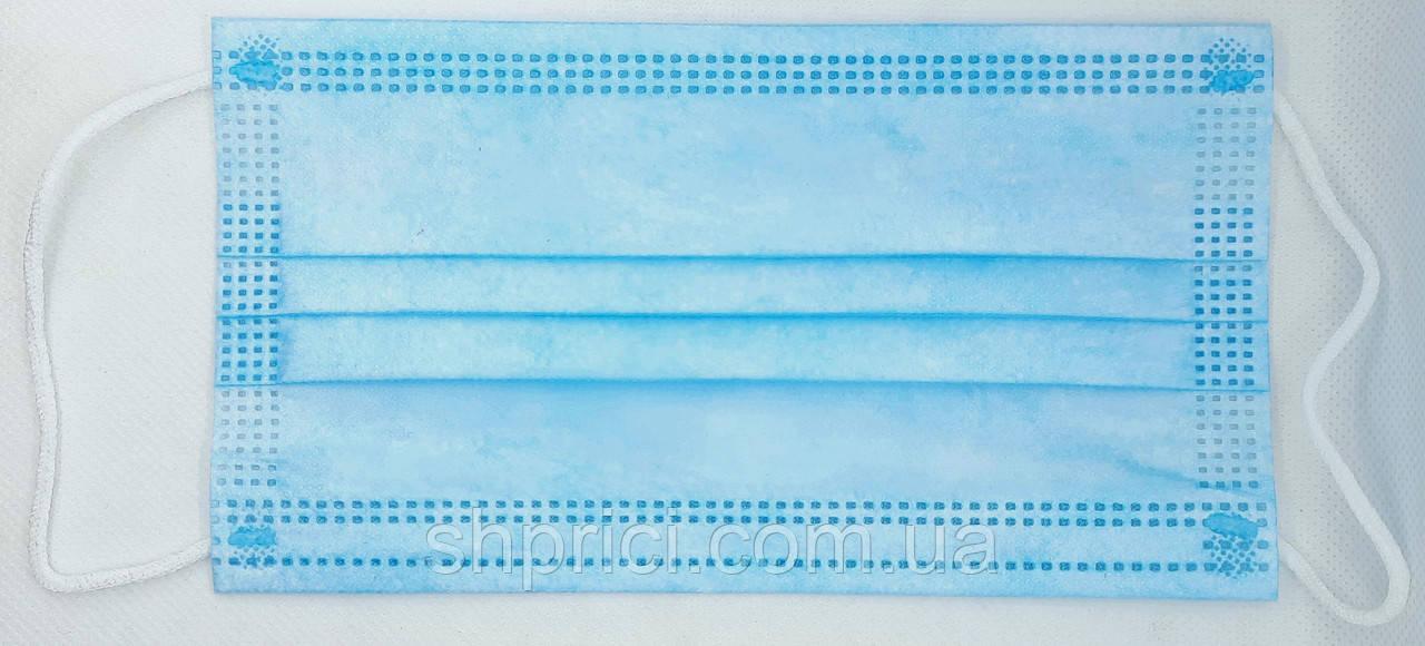 Маска медицинская одноразовая 3-х слойная нестерильная на резинках голубая/ 3ЕЕЕ