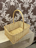 Плетеная подарочная корзина квадратной формы из лозы, фото 1