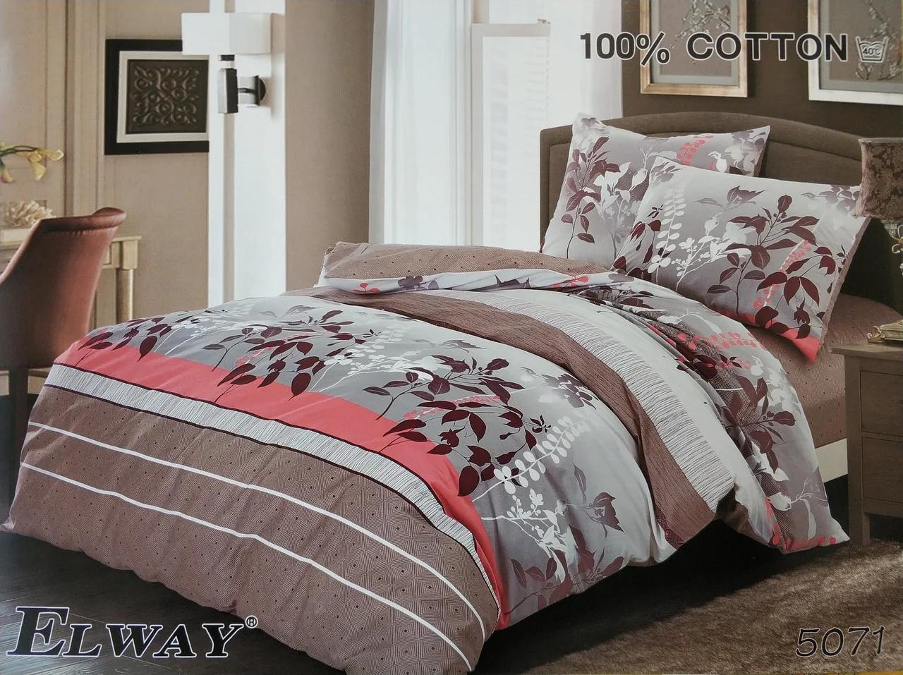 Сатиновое постельное белье евро  ELWAY 5071