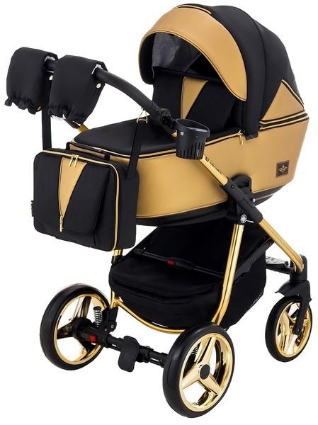 Универсальная коляска 2 в 1 Adamex Sierra Polar Gold SR403, кожа, текстиль, черный с золотым (623907)