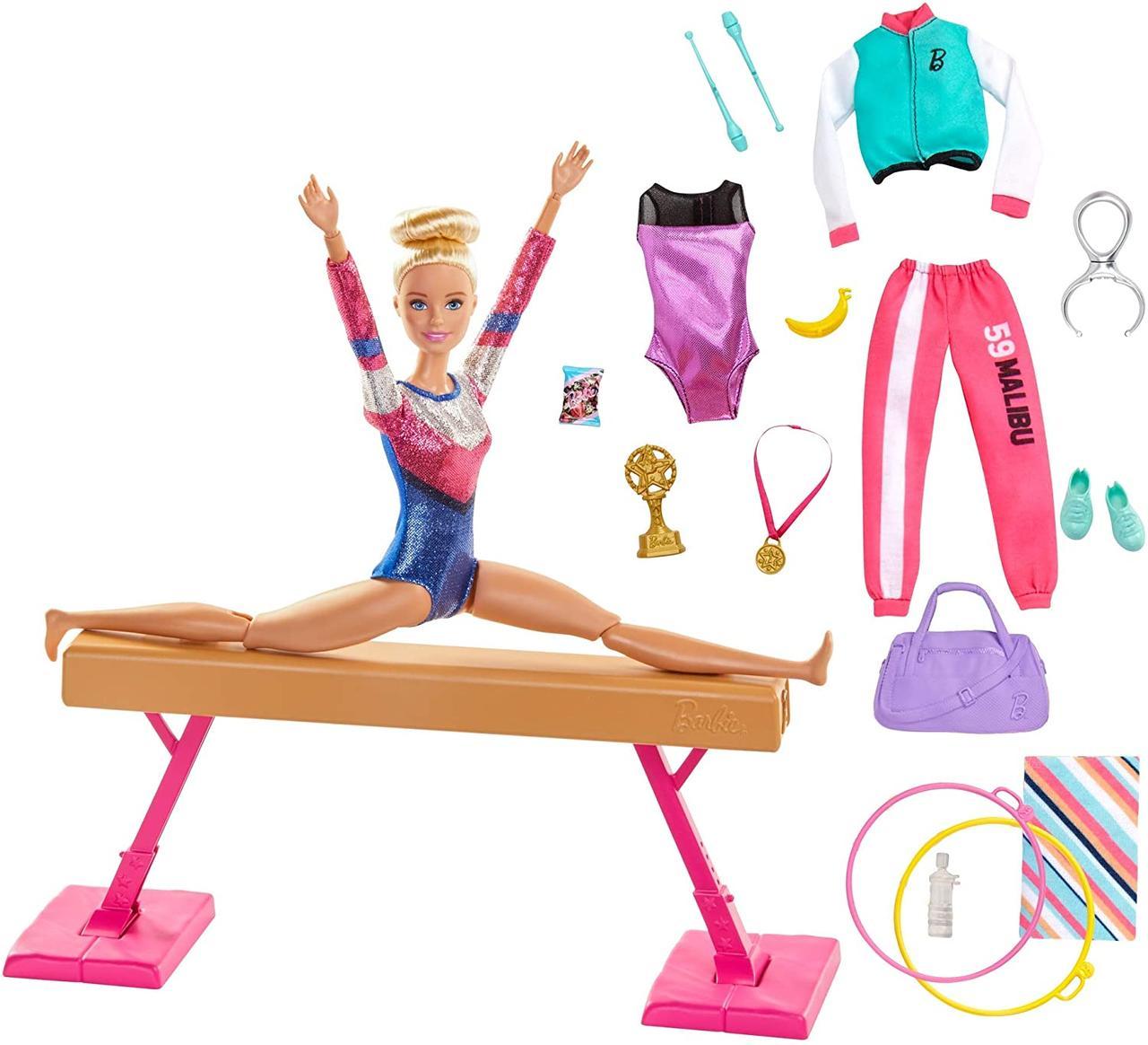 Игровой набор Кукла Барби гимнастка Barbie Gymnastics Playset With Doll, Balance Beam GJM72