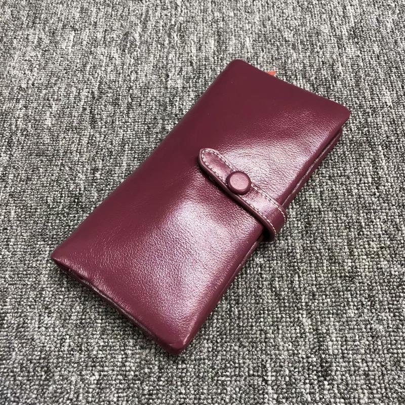 Большой кошелек на завязке с кнопкой / натуральная кожа (10252) Бордовый