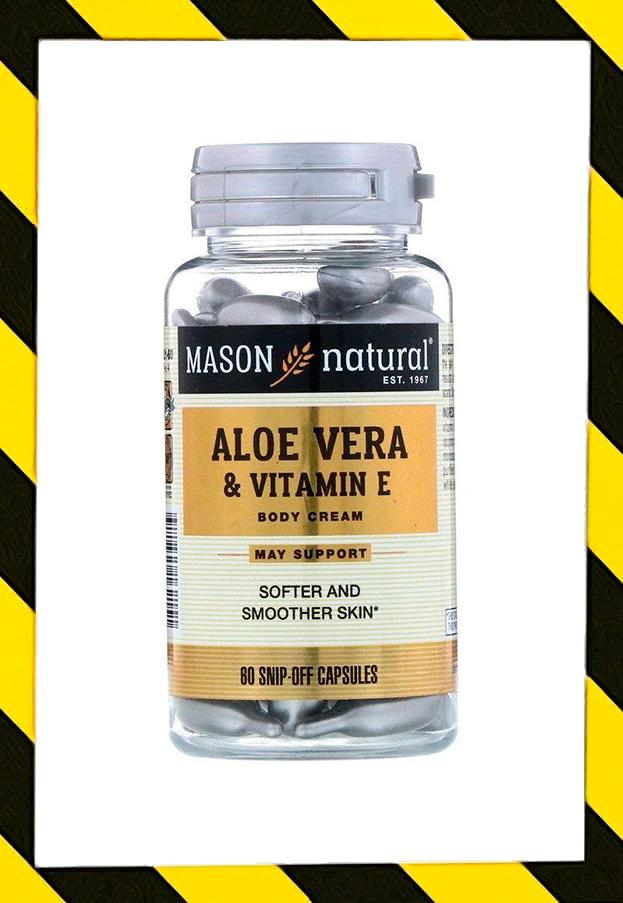 Mason Natural, Алоэ вера и витамин Е, натуральный крем, 60 отрезных капсул