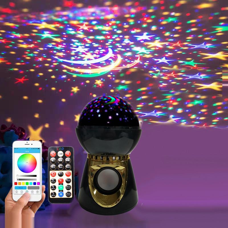 Ночник - проектор звездного неба круглый музыкальный Диско шар Led Music BulB RGB подсветка на пульте