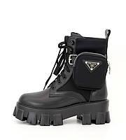 Женские зимние ботинки Prada Monolith с мехом, Прада Монолит высокие на шнуровке