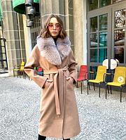 Зимнее брендовое длинное пальто с шикарным мехом личсы, фото 1