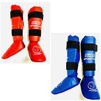 Захист гомілки й стопи для єдиноборств р. М, L, XL кожвініл, фото 1