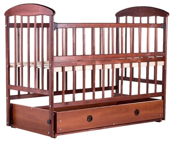 Детская кроватка Наталка ОТМЯО, с ящиком и маятником, ольха темная (20113)