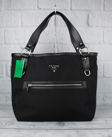 Сумка большая женская текстильная черная Prada 8187