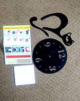 """Часы зеркальные черные пластиковые """"Черный кот"""", фото 3"""