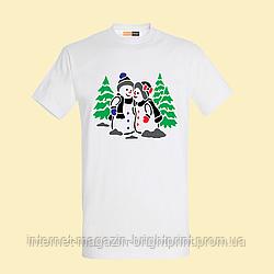 """Чоловіча футболка з принтом """"Сніговики"""""""