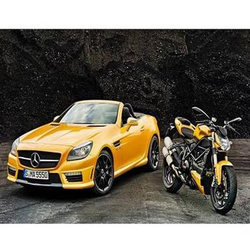 Картина по номерам 40х50 см DIY Желтая машина и мотоцикл (NX 9461)