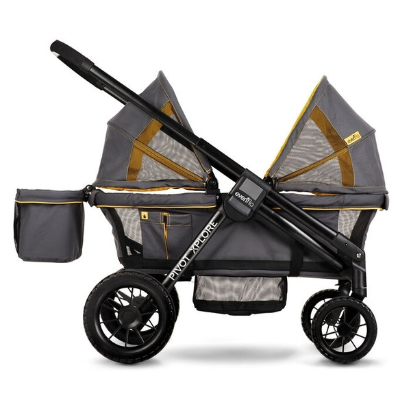 Прогулочная коляска Evenflo Pivot Xplore All-Terrain Stroller Wagon - Adventurer, серый с оранжевым