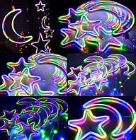 Декоративная гирлянда звезды и месяц большие, фото 1