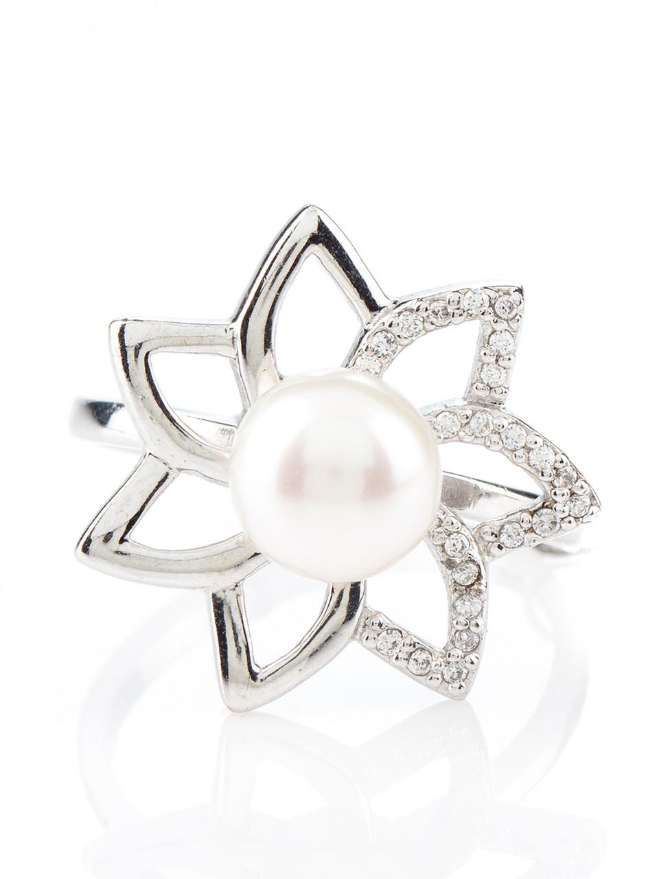 Кільце срібне з перлами R-588 (16,5)