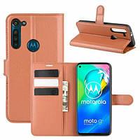Чехол Fiji Luxury для Motorola Moto G8 Power книжка коричневый