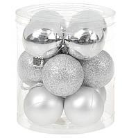 Ялинкові новорічні кульки срібного кольору набір 12 шт, фото 1
