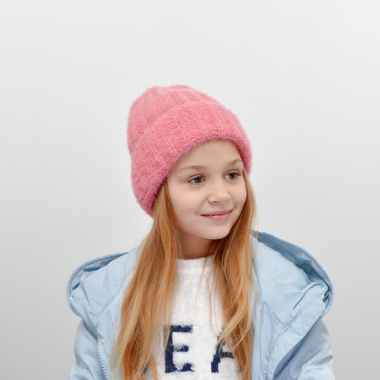 Детская шапка NordNeo 3432  темный розовый