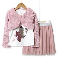 Комплект для дівчинки 3 в 1 See you later, рожевий Baby Rose (98) 4 года, 104, 104, Болеро: 80% Полиэстер, 20% Хлопок Кофточка: 95 % Хлопок, 5% Эластан Юбка: 80% Полиэстер, 20% Хлопок