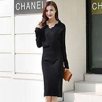 Сукня трикотажне жіноче з фігурним запахом, чорне