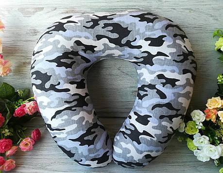 """Автомобильная подушка для путешествий U образной формы в дорогу в авто """"Серый камуфляж"""" , 41 см * 34 см, фото 2"""