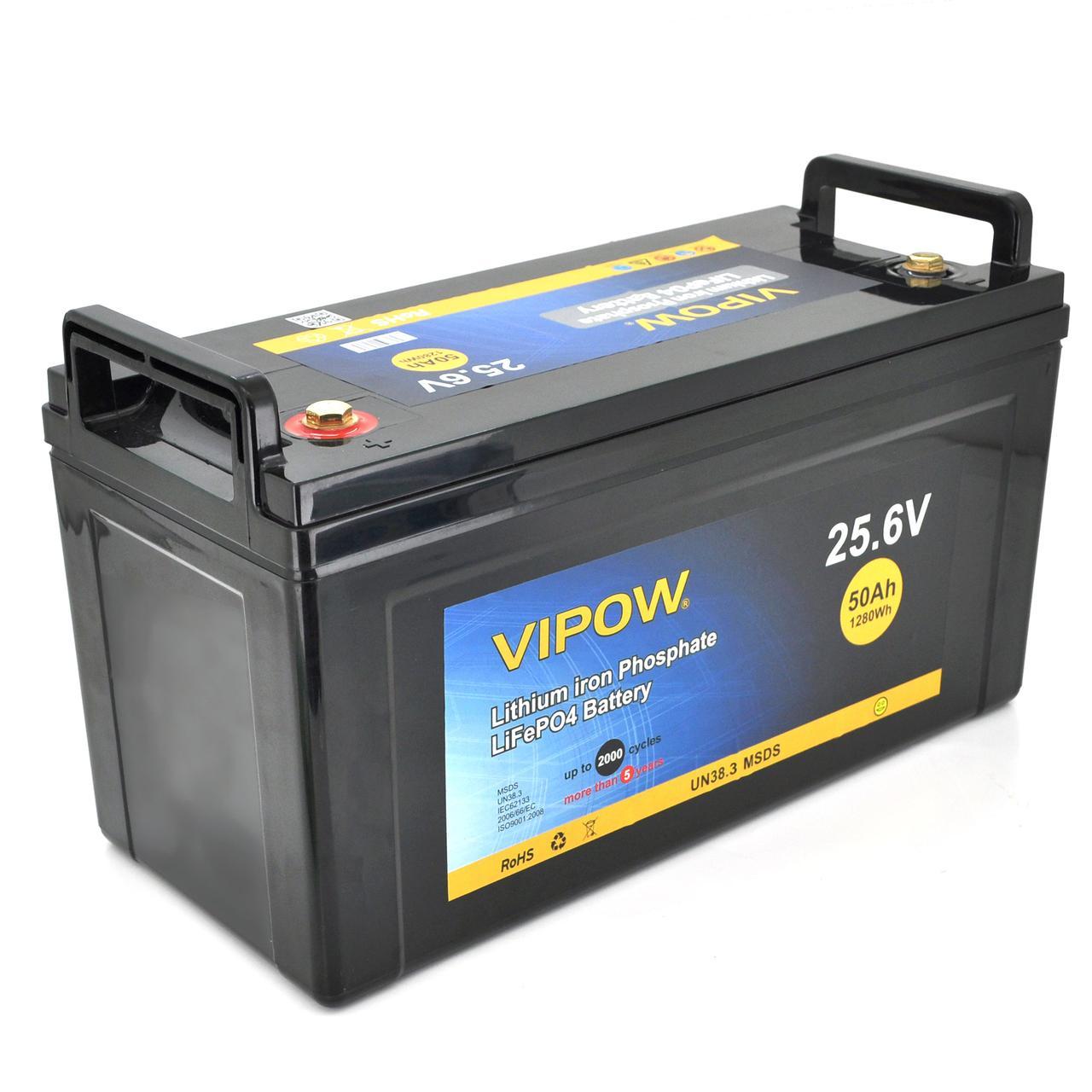 Аккумуляторная батарея Vipow LiFePO4 25,6V 50Ah  со встроенной ВМS платой 40A