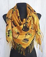 Теплый платок Cashmere Кошки 110*110 см горчичный, фото 1