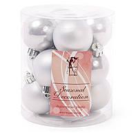 Новорічні срібні кульки на ялинку, набір 12 шт * 4 см, фото 1