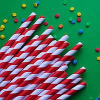 Трубочки бумажные (красная-спираль), 25 шт.