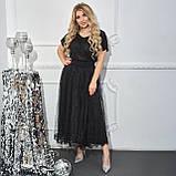 Нарядное платье женское Евросетка и трикотаж  с напылением Размер 46 48 50 52 54 56 58 60 Три цвета, фото 5