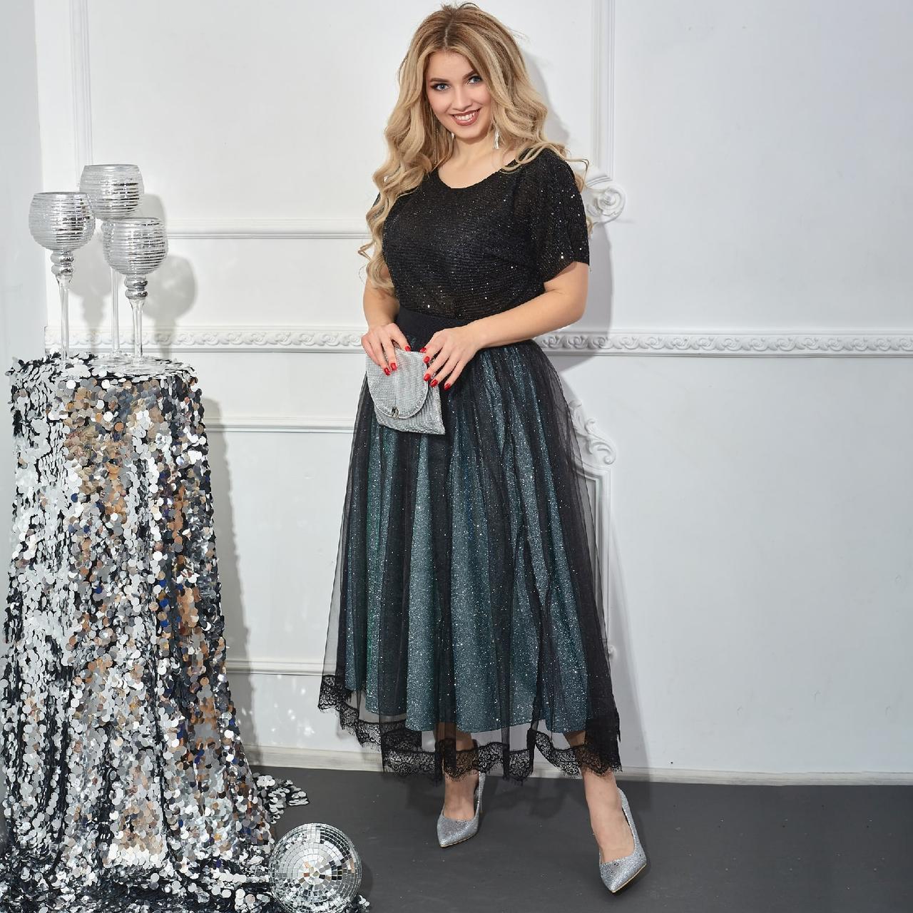 Нарядное платье женское Евросетка и трикотаж  с напылением Размер 46 48 50 52 54 56 58 60 Три цвета