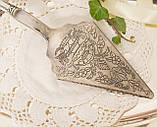 Красивая посеребренная лопатка для торта или десертов, для сервировки десертного стола, мельхиор, Англия, фото 2