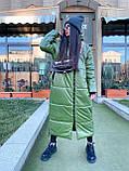 Женская  зимняя куртка с капюшоном из эко кожи, фото 3