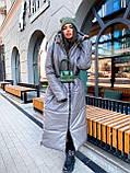 Женская  зимняя куртка с капюшоном из эко кожи, фото 5