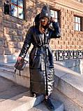 Женская  зимняя куртка с капюшоном из эко кожи, фото 6