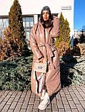 Женская  зимняя куртка с капюшоном из эко кожи, фото 8