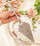 Красивая посеребренная лопатка для торта или десертов, для сервировки десертного стола, мельхиор, Англия, фото 7