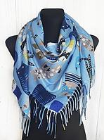 Тепла хустка Cashmere Кішки 110*110 см блакитний