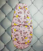 Пеленка-кокон, европеленка для новорожденных Мишка на луне, трикотаж с начесом, на липучке