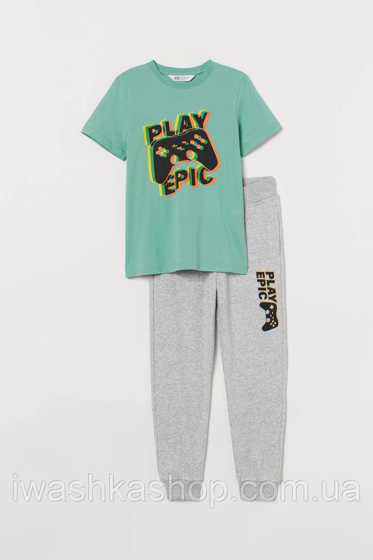Стильный костюм с джойстиком, футболка и штаны двунитка с надписью на мальчика 8 - 9 лет, р. 134, H&M