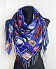 Теплый платок Cashmere Кошки 110*110 см синий